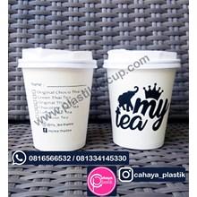 Sablon Paper Cup 8 oz + Tutup