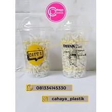 Sablon gelas plastik 14 oz  2 warna