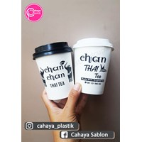 Sablon paper cup hot 9 oz + tutup (thai tea cup)