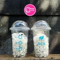 Sablon cup plastik 16 oz tebal 8 gram dan tutup cembung 1