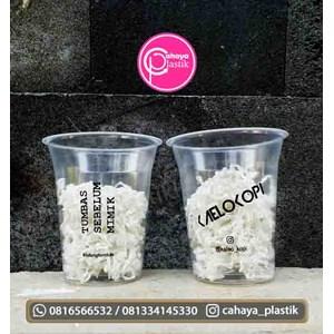 Sablon gelas plastik minuman 12 oz 8 gram tanpa tutup
