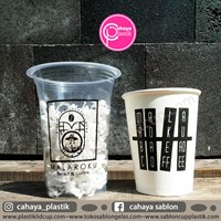 Sablon Gelas plastik 14 oz 6 gram  paper cup 8 oz  1