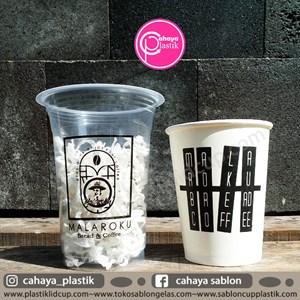 Sablon Gelas plastik 14 oz 6 gram  paper cup 8 oz