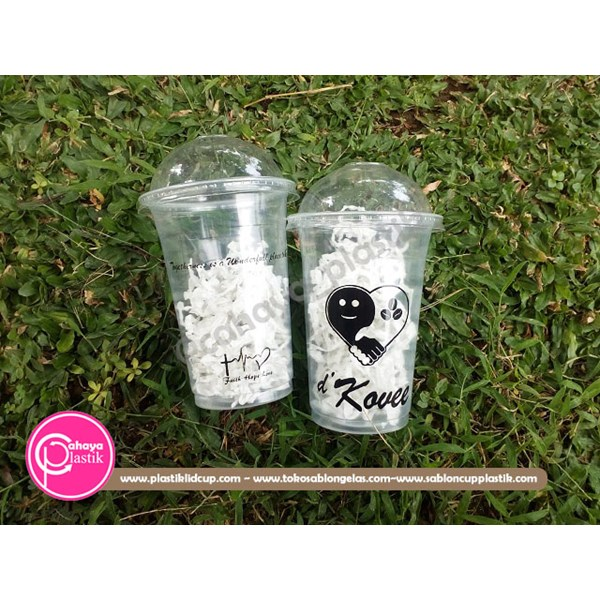 Sablon cup gelas plastik 16 oz 7 gram