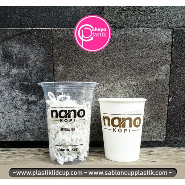 Sablon Paper cup 8 oz dan cup plastik 14 oz 6 gram (coffee cup)