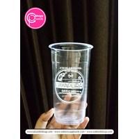 Sablon cup plastik 22 oz starindo tanpa tutup