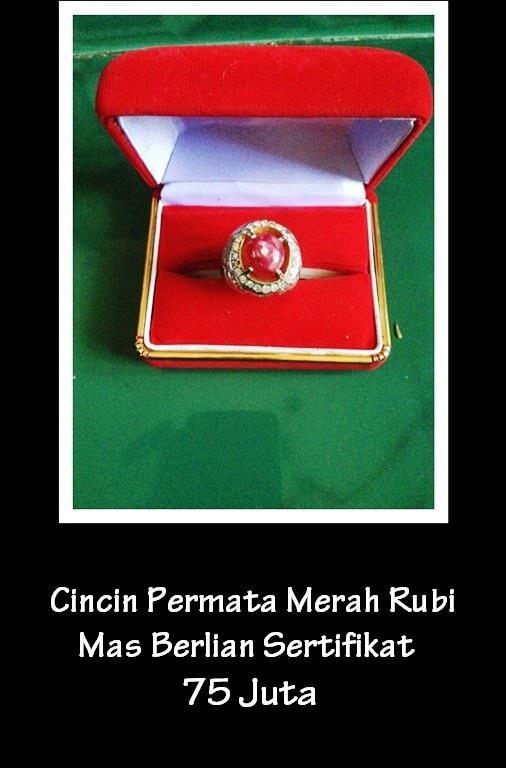 Jual Cincin Permata Merah Rubi Emas Berlian Bersertifikat