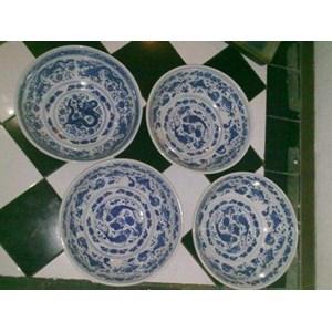 jual mangkok antik keramik putih motif biru harga murah