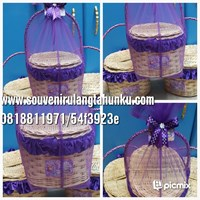 Jual miniature wicker picnic