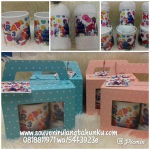 Paket Mug Handuk Label dan Kotak Polkadot