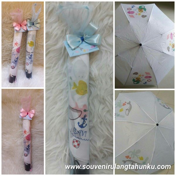 Payung Lipat dan Tile Tema Mermaid
