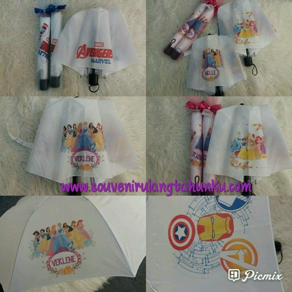 Payung Lipat dan Tile Tema Avenger dan Princess