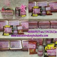 Paket Souvenir Kotak Kaleng dan Snack 4 Macam