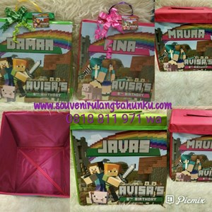Souvenir Toy Box Uk 30x30x30 Triplek Tema Minecraft