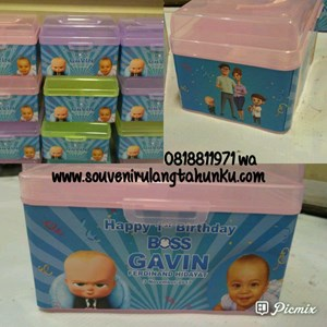 Souvenir Kotak Plastik Tema Baby Boss