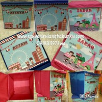 Souvenir Toy Box Uk 30x30x30 Karton Tebal Tema London dan Paris