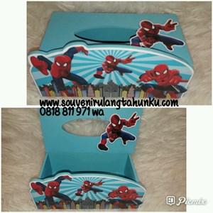 Souvenir Tempat Tisu Kayu Tema Spiderman
