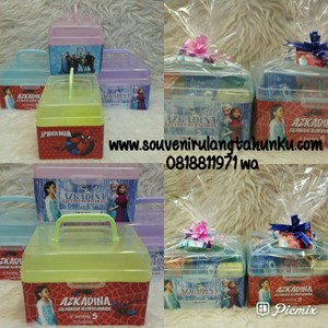 Souvenir Kotak Plastik Tema Spiderman dan Frozen