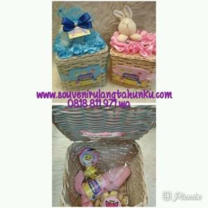 Paket Souvenir Rotan Tempat Tisu Handuk dan Snack 2 Macam Tema Baby Shark