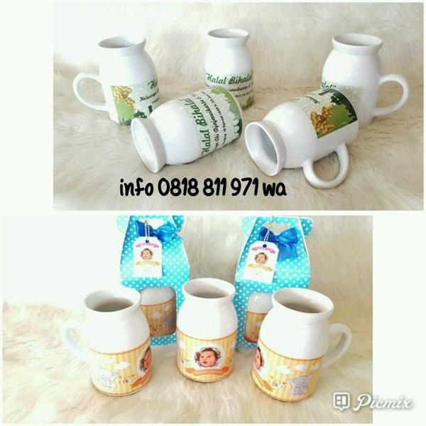 Souvenir Mug Susu Printing dan box Polkadot