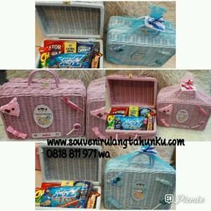 Souvenir Box Koper Rotan Aplikasi Tanpa Snack