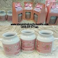 Souvenir Mug Milky Printing dan Kotak Polkadot