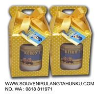 Melamine souvenir mug with spoon and box