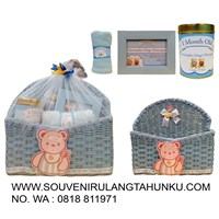 Hampers baby souvenirs fill rattan tmp magazine + towel label + cookie jar + frame