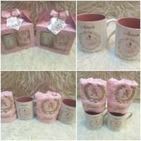 handuk bordir + mug dlm pink aqiqah baby