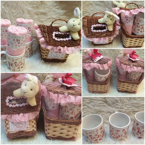 Souvenir Tempat Tissue akikah / baby one month (Mug+Handuk & Tempat Tisu))