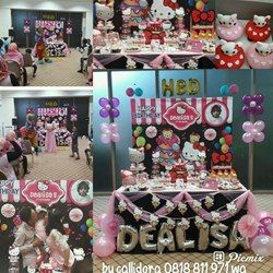 Pesta Ulang Tahun Dealisa dengan Dessert Table Tema Hello Kitty