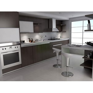 Elegant Home Kitchen With Dark Colors By PT  Auto Design Interior