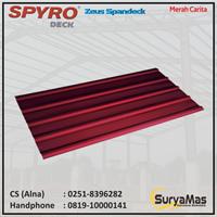 Atap Spandek Spyro tipe Zeus Eff 780 mm Merah Carita
