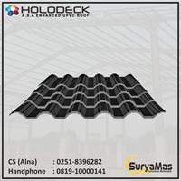 Atap UPVC Holodeck Eff 780 mm Tebal 12 milimeter Warna Hitam