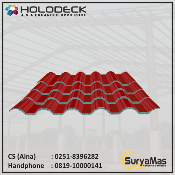Atap UPVC Holodeck Eff 780 mm Tebal 12 milimeter Warna Merah