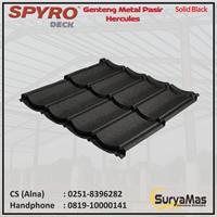 Genteng Metal Pasir Spyro Tipe Hercules Tebal 0.28 mm Warna Solid Black