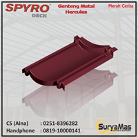 Genteng Metal Spyro Tipe Hercules Tebal 0.23 mm Warna Merah Carita