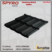 Genteng Metal Spyro Tipe Helios Tebal 0.23 mm Warna Solid Black