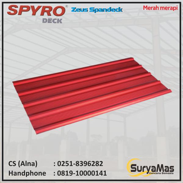 Atap Spandek Spyro Tipe Zeus Tebal 0.30 mm Warna Merah Merapi
