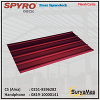 Atap Spandek Spyro Tipe Zeus Tebal 0.30 mm Warna Merah Carita