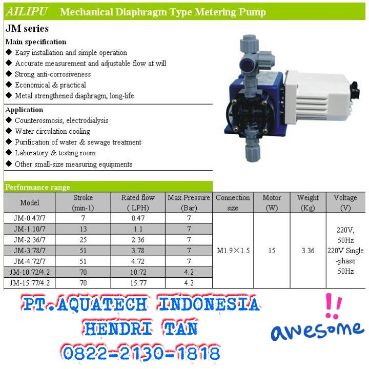 Sell Dosing Pump Water Filter From Indonesia By Pt