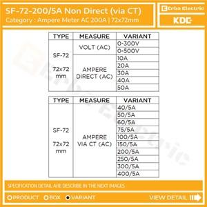 Dari Ampere Meter 72mm 200A AC via CT Ratio 5A Alat Ukur Tegangan KDE FORT 72x72 mm 3