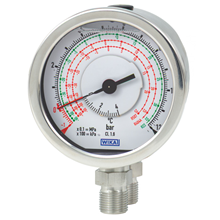 Differential pressure gauge with bourdon tube