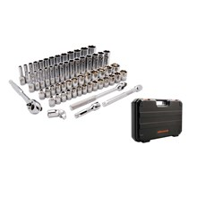 D010012 SOCKET SET 60 PIECE 6 POINT STANDARD - DEEP SAE - METRIC - KUNCI SOCKET DYNAMIC TOOLS