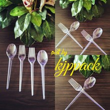Plastic spoon and fork