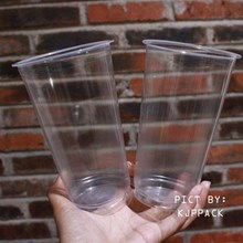 Cup Plastik 22oz Bening gelas plastik 22oz bening tebal ( MIN ORDER PRINTING HANYA 1000PCS )