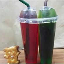 Gelas Plastik 2 rasa atau Doubel cup atau Split Cup Plastic + LID