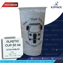 Cetak Sablon Plastic cup  22 oz / Plastik Cup Tebal Bahan PP