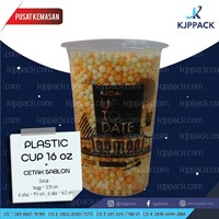 Plastik cup 16 oz Sablon 1 warna untuk Kemasan Minuman Teh