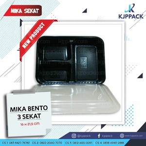 Food Pan - BENTO BOX SEKAT 3 - KEMASAN PLASTIK DENGAN SEKAT